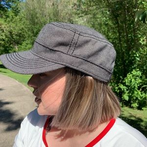 Military Style Cap-Black with Gray Accents